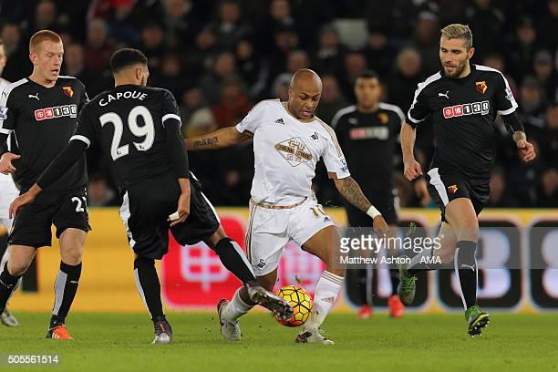 Etienne Capoue of Watford Andre Ayew of Swansea City and Valon Behrami of Watford during the Barclays Premier League match between Swansea City and...