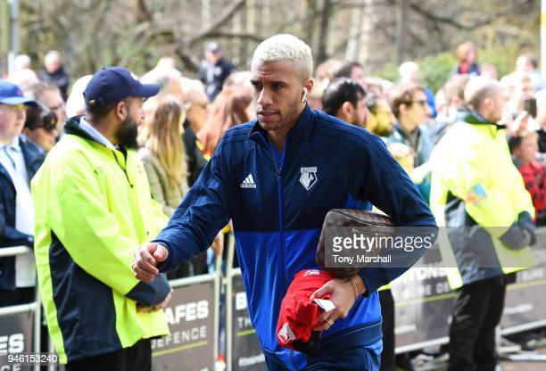 Etienne Capoue of Watford arrives at the stadium prior to the Premier League match between Huddersfield Town and Watford at John Smith's Stadium on...