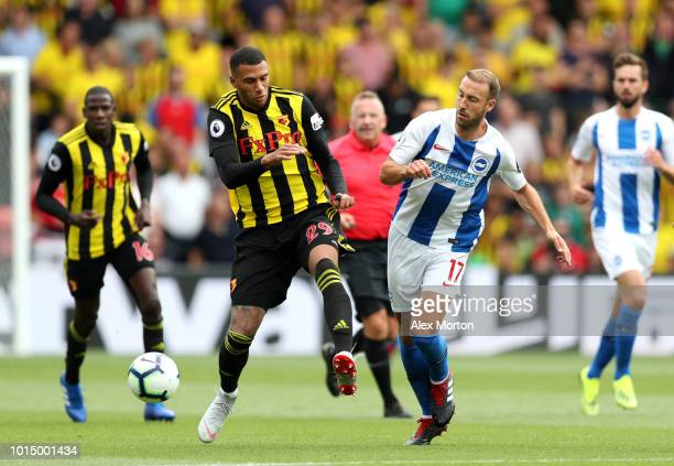 Etienne Capoue of Watford battles for possession with Glenn Murray of Brighton and Hove Albion during the Premier League match between Watford FC and...
