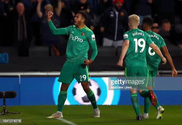 Etienne Capoue of Watford celebrates after he scores his sides second goal during the Carabao Cup Third Round match between Tottenham Hotspur and...