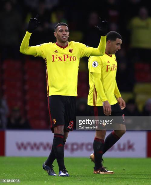 Etienne Capoue of Watford celebrates after scoring his sides third goal during The Emirates FA Cup Third Round match between Watford and Bristol City...