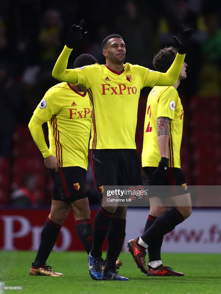 Etienne Capoue of Watford celebrates after scoring his sides third goal during The Emirates FA Cup Third Round match between Watford and Bristol City at Vicarage Road on January 6, 2018 in Watford, England.