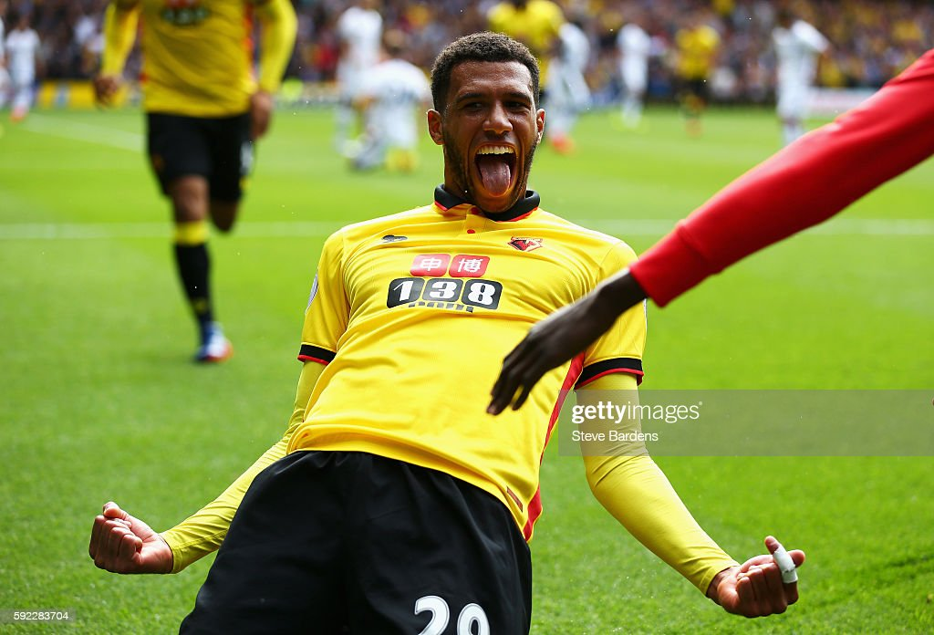 Etienne Capoue of Watford celebrates scoring his sides first goal during the Premier League match between Watford and Chelsea at Vicarage Road on August 20, 2016 in Watford, England.