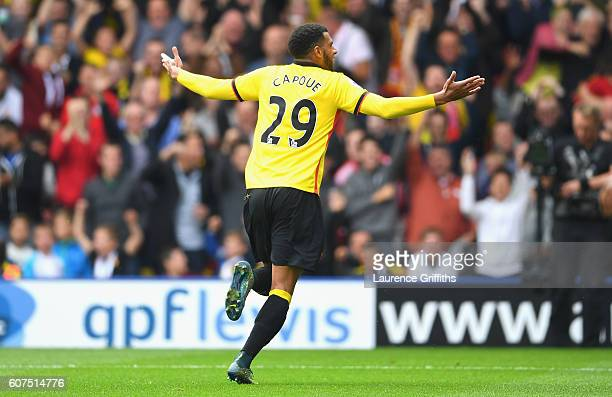 Etienne Capoue of Watford celebrates scoring his sides first goal during the Premier League match between Watford and Manchester United at Vicarage...