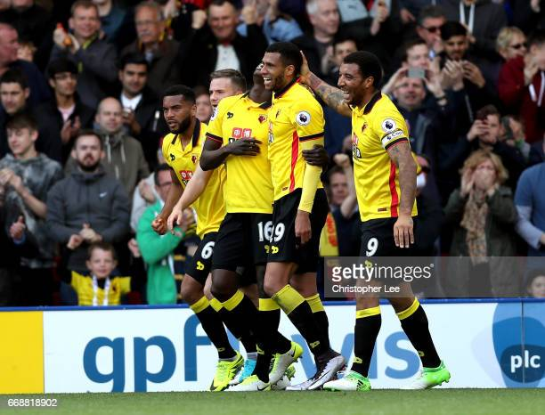 Etienne Capoue of Watford celebrates scoring his sides first goal with his Watford team mates during the Premier League match between Watford and...