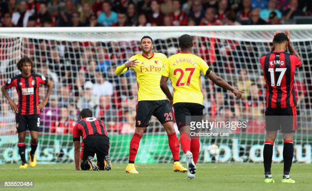 Etienne Capoue of Watford celebrates scoring his sides second goal with Christian Kabasele of Watford during the Premier League match between AFC...