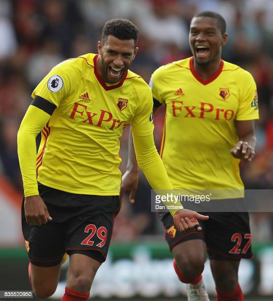 Etienne Capoue of Watford celebrates scoring his sides second goal during the Premier League match between AFC Bournemouth and Watford at Vitality...