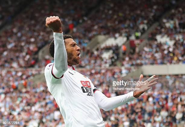 Etienne Capoue of Watford celebrates scoring his sides third goal during the Premier League match between West Ham United and Watford at Olympic...