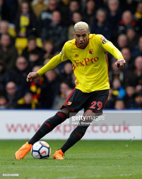 Etienne Capoue of Watford during the Premier League match between Watford and AFC Bournemouth at Vicarage Road on March 31 2018 in Watford England