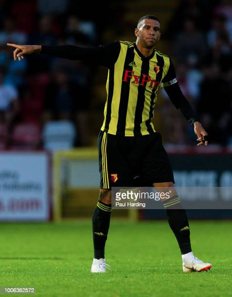 Etienne Capoue of Watford FC points during the preseason friendly match between Stevenage and Watford at The Lamex Stadium on July 27 2018 in...