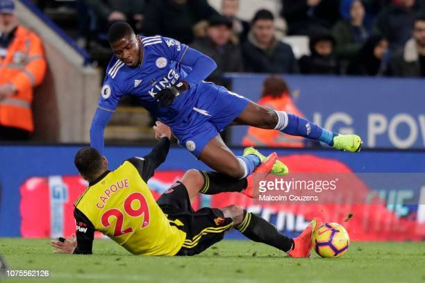 Etienne Capoue of Watford fouls Kelechi Iheanacho of Leicester City to earn a red card during the Premier League match between Leicester City and...
