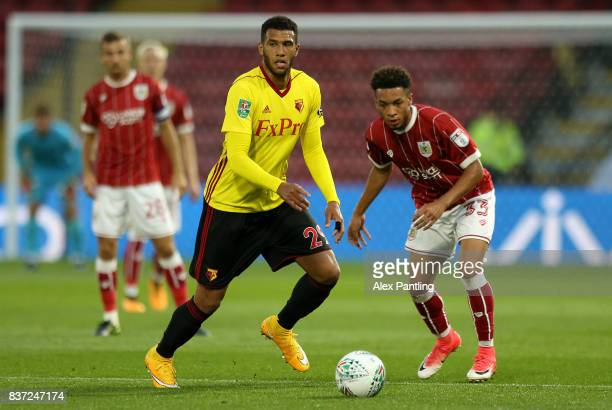 Etienne Capoue of Watford goes past Freddie Hinds of Bristol City during the Carabao Cup Second Round match between Watford and Bristol City at...