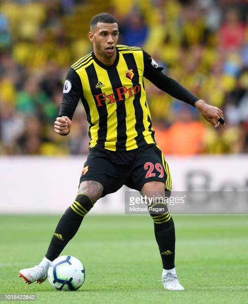 Etienne Capoue of Watford in action during the Premier League match between Watford FC and Brighton Hove Albion at Vicarage Road on August 11 2018 in...