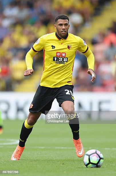 Etienne Capoue of Watford in action during the Premier League match between Watford and Arsenal at Vicarage Road on August 27 2016 in Watford England