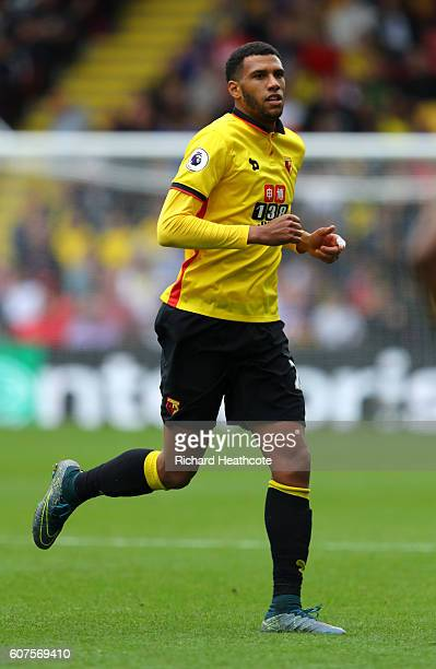 Etienne Capoue of Watford in action during the Premier League match between Watford and Manchester United at Vicarage Road on September 18 2016 in...
