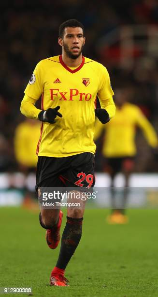 Etienne Capoue of Watford in action during the Premier League match between Stoke City and Watford at Bet365 Stadium on January 31 2018 in Stoke on...
