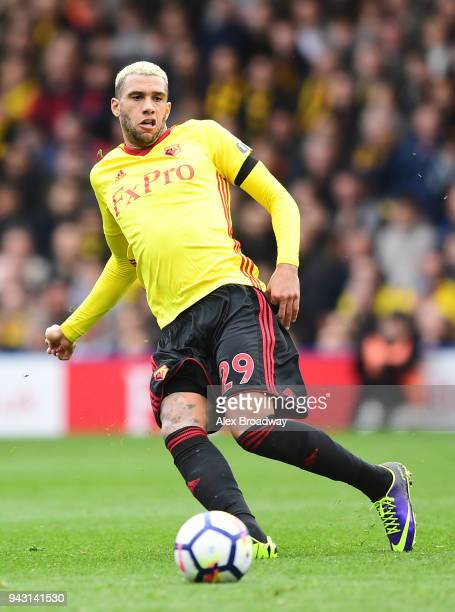 Etienne Capoue of Watford in action during the Premier League match between Watford and Burnley at Vicarage Road on April 7 2018 in Watford England
