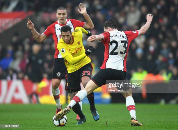 Etienne Capoue of Watford is challenged by PierreEmile Hojbjerg of Southampton during The Emirates FA Cup Fourth Round match between Southampton and...