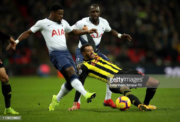 Etienne Capoue of Watford is challenged by Serge Aurier of Tottenham Hotspur as Moussa Sissoko of Tottenham Hotspur looks on during the Premier...