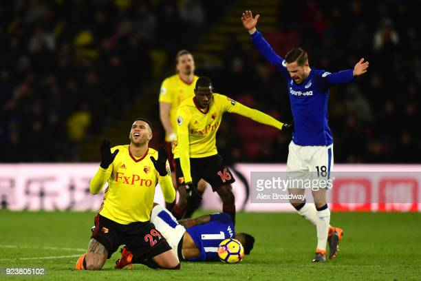Etienne Capoue of Watford reacts after fouling Theo Walcott of Everton during the Premier League match between Watford and Everton at Vicarage Road...