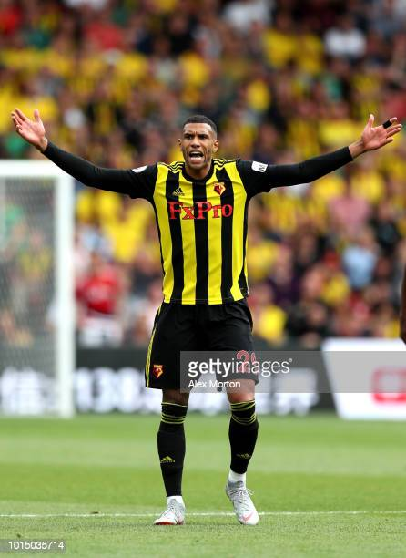Etienne Capoue of Watford reacts during the Premier League match between Watford FC and Brighton Hove Albion at Vicarage Road on August 11 2018 in...