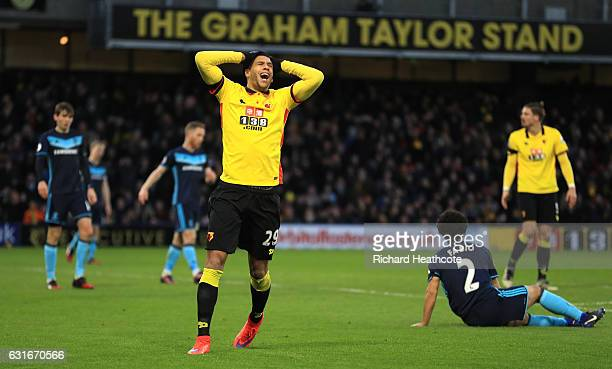 Etienne Capoue of Watford reacts during the Premier League match between Watford and Middlesbrough at Vicarage Road on January 14 2017 in Watford...