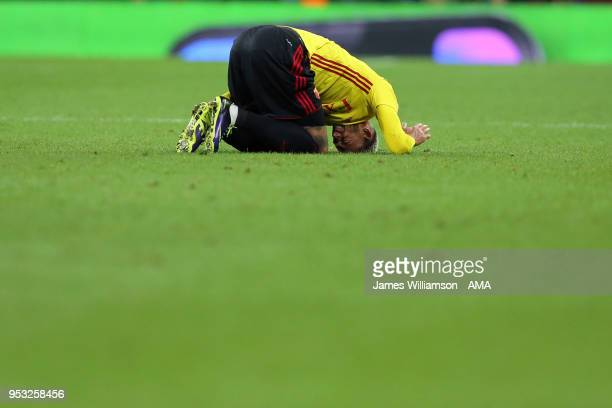 Etienne Capoue of Watford reacts during the Premier League match between Tottenham Hotspur and Watford at Wembley Stadium on April 30 2018 in London...