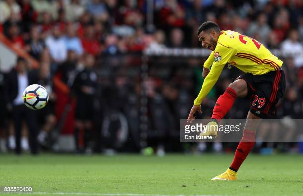 Etienne Capoue of Watford scores his sides second goal during the Premier League match between AFC Bournemouth and Watford at Vitality Stadium on...