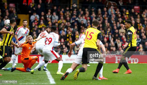 Etienne Capoue of Watford scores his team's first goal during the FA Cup Quarter Final match between Watford and Crystal Palace at Vicarage Road on...