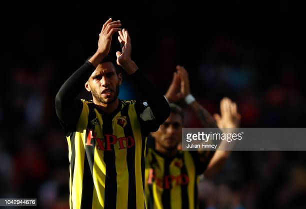 Etienne Capoue of Watford shows appreciation to fans after the Premier League match between Arsenal FC and Watford FC at Emirates Stadium on...