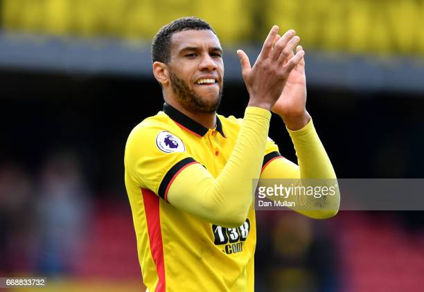 Etienne Capoue of Watford shows appreciation to the fans after the Premier League match between Watford and Swansea City at Vicarage Road on April 15...