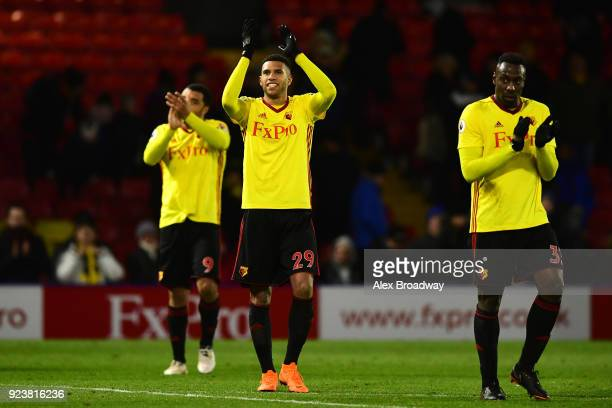 Etienne Capoue of Watford shows appreciation to the fans following the Premier League match between Watford and Everton at Vicarage Road on February...