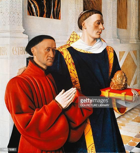 Etienne Chevalier and Saint Stephen, by Jean Fouquet . ; Berlin, Gemäldegalerie .