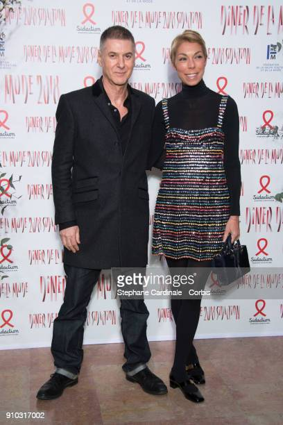 Etienne Daho and Mathilde Meyer attend the 16th Sidaction as part of Paris Fashion Week on January 25 2018 in Paris France