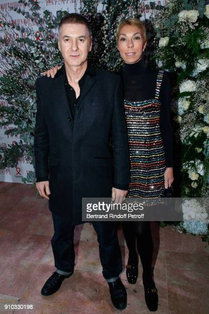 Etienne Daho and Mathilde Favier attend the 16th Sidaction as part of Paris Fashion Week on January 25 2018 in Paris France