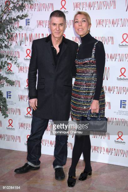 Etienne Daho and Victoire de Castellane attend the 16th Sidaction as part of Paris Fashion Week on January 25 2018 in Paris France