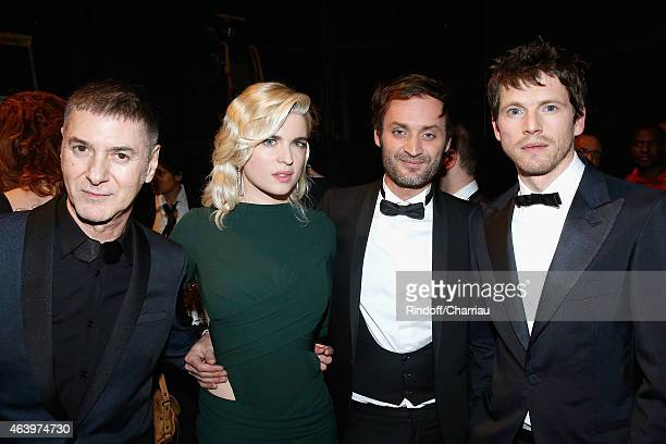Etienne Daho Cecile Cassel Augustin Trapenard and Pierre Deladonchamps pose backstage during the 40th Cesar Film Awards 2015 at Theatre du Chatelet...