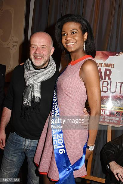 Etienne Louvain and Miss Nationale 1st Dauphine Nathanaelle Audel attend 'Guitar Tribute' by Golden disc awarded Jean Pierre Danel at Hotel Burgundy...