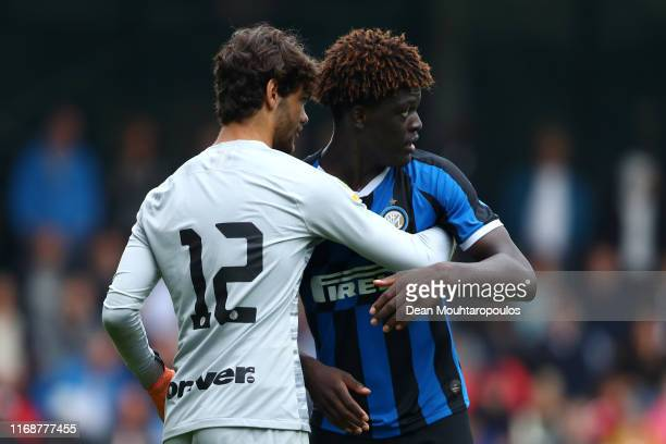 Etienne Ludovic Youte Kinkoue of Inter embraces Goalkeeper Giacomo Pozzer after he saves a penalty in the shoot out during The Otten Cup Final match...