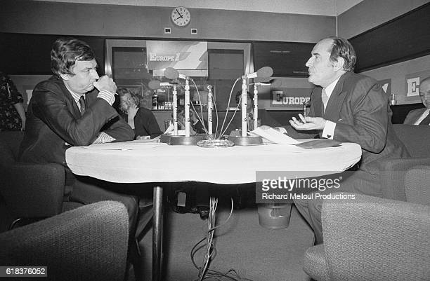 Etienne Mourgeotte journalist for the radio station Europe 1 interviews Parti Socialiste leader Francois Mitterrand Mitterrand would be elected...