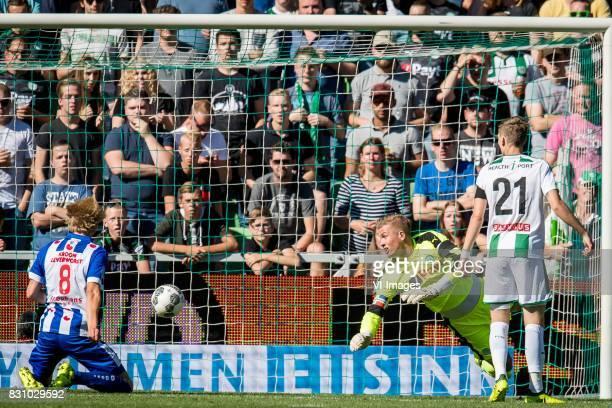 Etienne Reijnen of FC Groningen Morten Thorsby of sc Heerenveen goalkeeper Sergio Padt of FC Groningen Django Warmerdam of FC Groningen 01 during the...