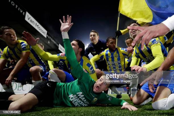 Etienne Vaessen of RKC Waalwijk celebrates the victory during the Dutch Keuken Kampioen Divisie match between RKC Waalwijk v FC Den Bosch at the...
