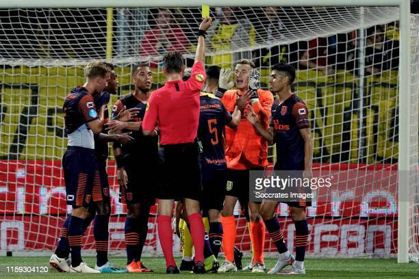 Etienne Vaessen of RKC Waalwijk receives a yellow card during the Dutch Eredivisie match between VVVvVenlo - RKC Waalwijk at the Seacon Stadium - De...