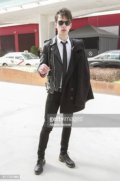 Etienne wears Doctor Martens shoes Cheap Monday pants Zara shirt and Zara coat during Mercedes Benz Fashion Week at Ifema on February 19 2016 in...