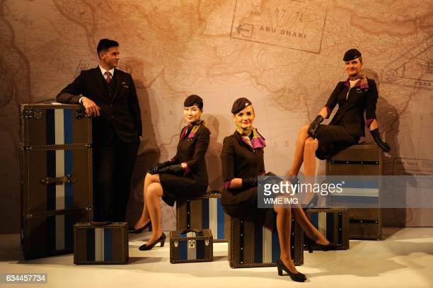 Etihad Airway Cabin Crew attends Etihad Airways Toasts New York Fashion Week 2017 at Skylight Clarkson Sq on February 9 2017 in New York City