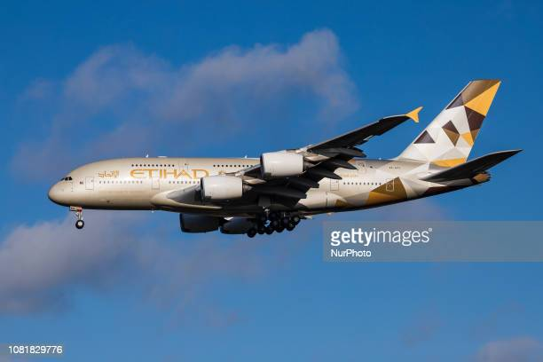 Etihad Airways Airbus A380 with registration A6APG landing in London Heathrow International Airport in England during a nice day Etihad or EY is...
