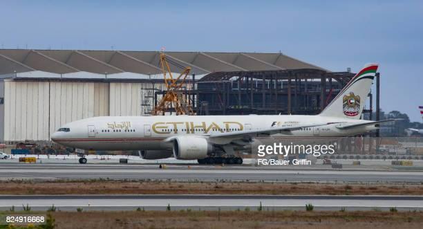 Etihad Airways Boeing 777 at Los Angeles International Airport on July 30 2017 in Los Angeles California