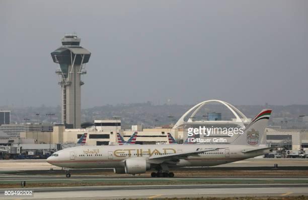 Etihad Airways Boeing 777l at Los Angeles International Airport on June 28 2017 in Los Angeles California
