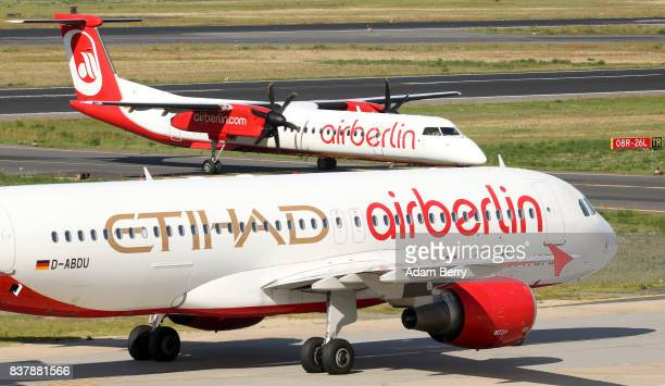 Etihad and Air Berlin airplanes are seen on the tarmac at Tegel Airport on August 23 2017 in Berlin Germany Air Berlin's creditors are meeting to...
