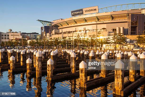 etihad stadium, docklands, melbourne - docklands stadium melbourne stock pictures, royalty-free photos & images